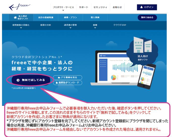 沖縄銀行専用freeeお申込みイメージ